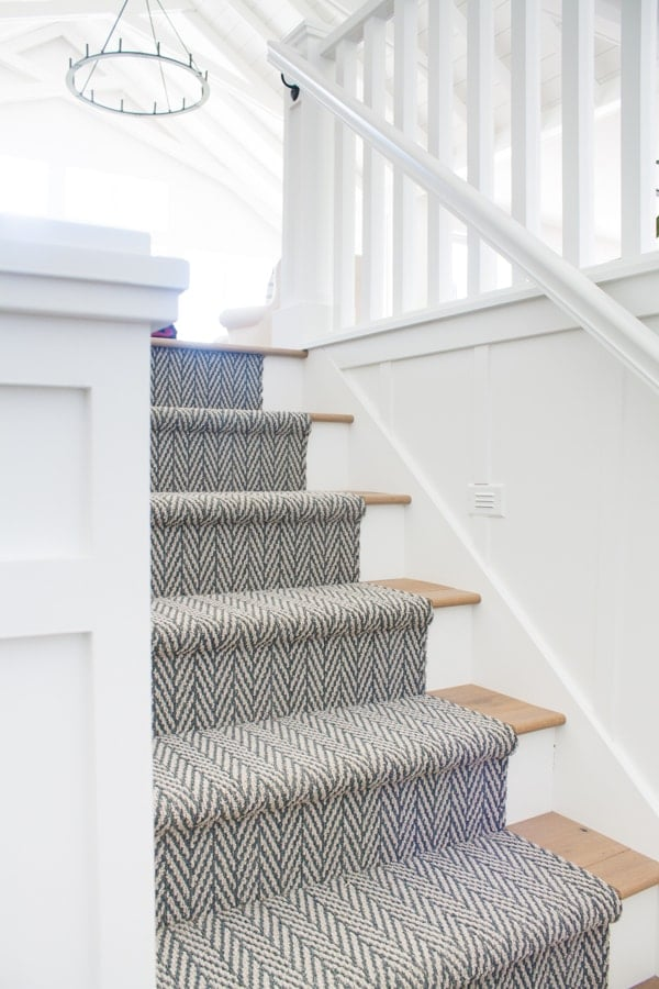 Herringbone stair runner by The Lily Pad Cottage