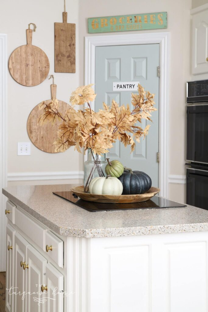 I love Comfort Gray as a soft green shade on my kitchen pantry door.