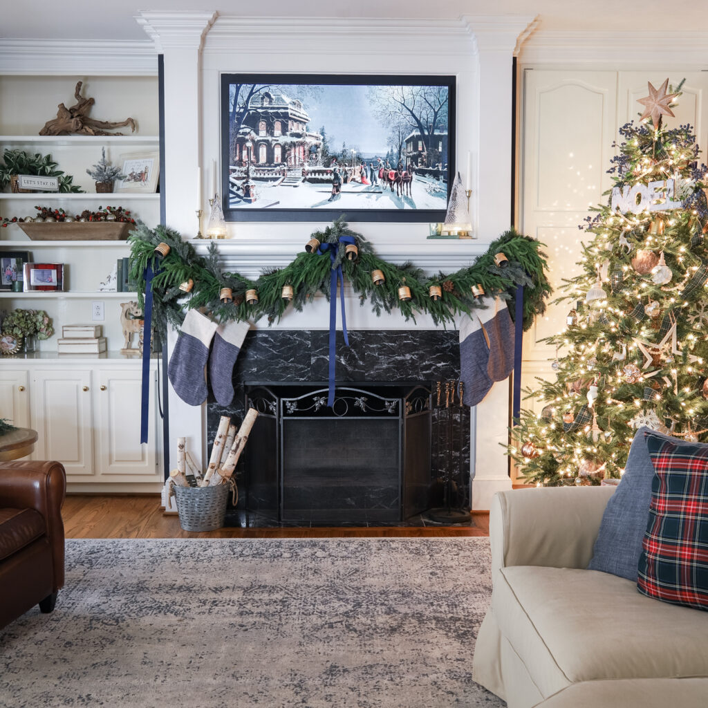 Beautiful Living Room with a Garland on the Mantel