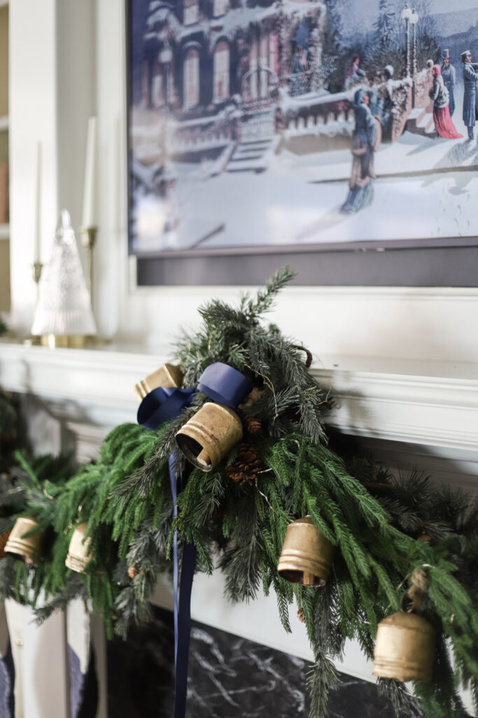 Christmas Garland with Navy Ribbon
