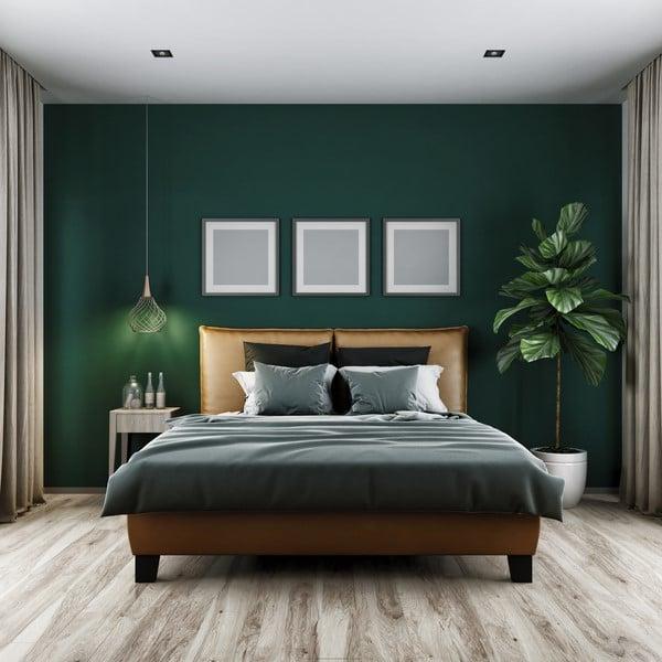Hunter Green by Benjamin Moore in a lush, moody bedroom.