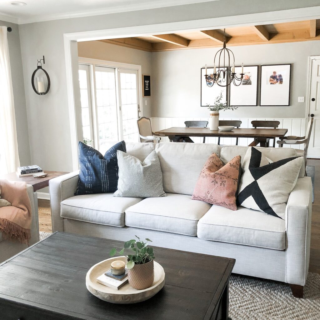 Cozy living room with soft, neutral colors, white trim and walls in Mindful Gray/