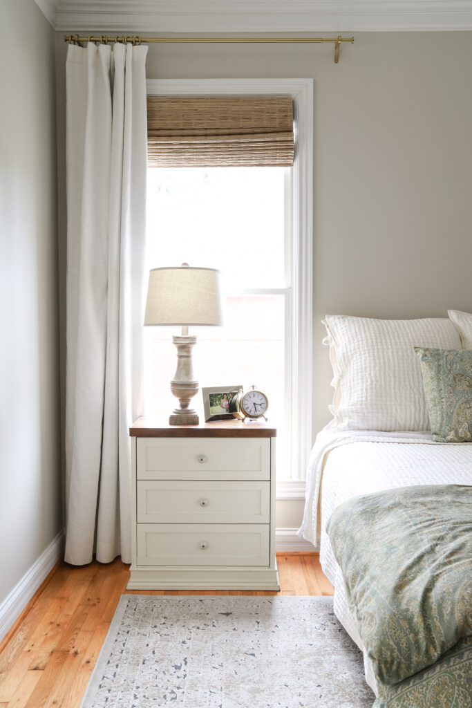 Ivory Linen/Cotton Curtains in the Master Bedroom