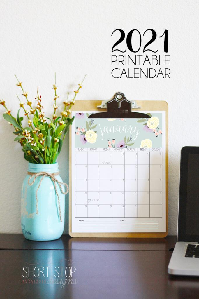 2021 Printable Calendar by Short Stop Designs