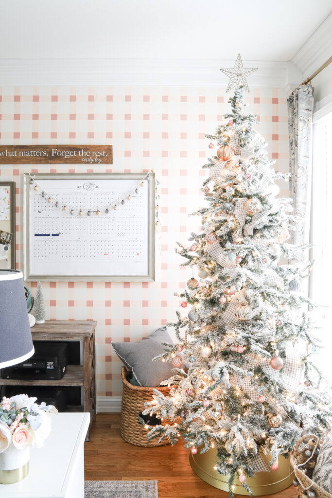 Office Christmas Decor with Flocked Tree