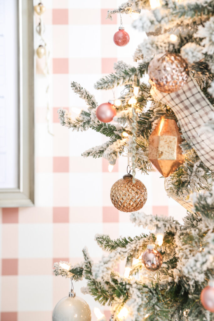 Gold & Blush Ornaments in Girly Christmas Office