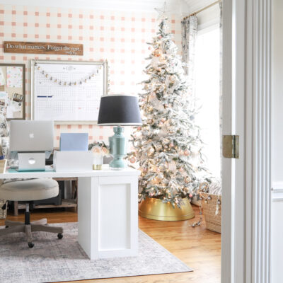 Pretty Plaid Office at Christmas