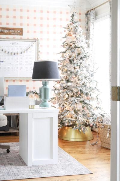 Pretty Plaid Office at Christmas