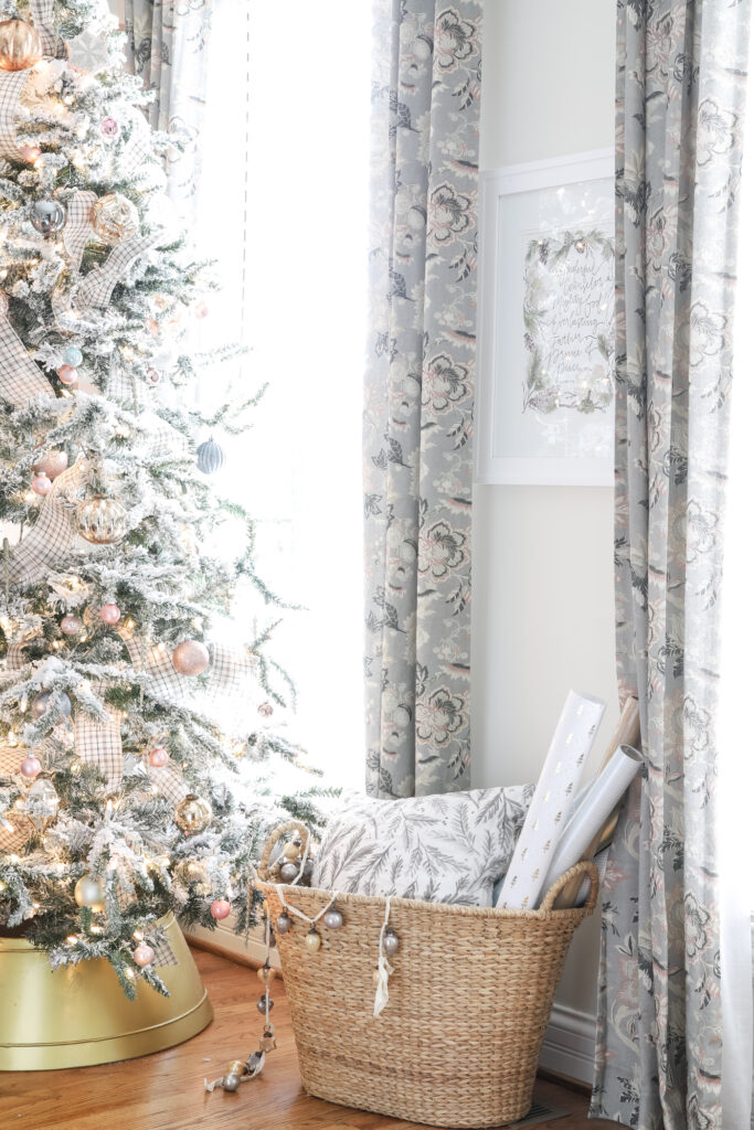 Floral Blush & Gray Curtains in Girly Office