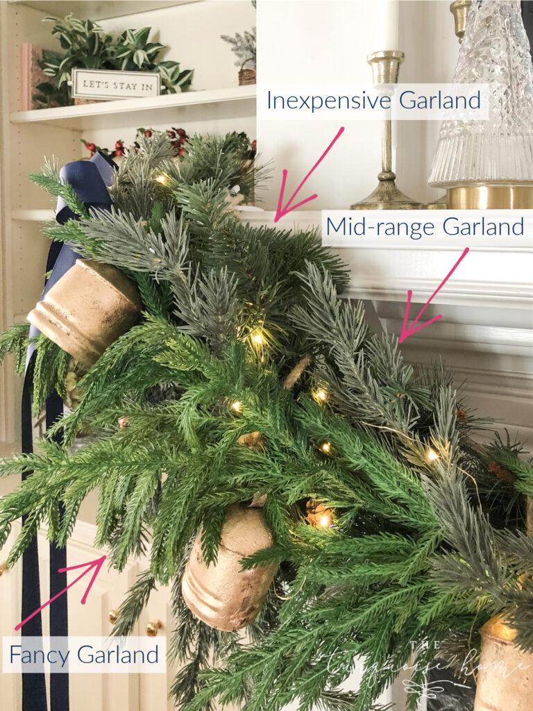 Three garlands on a Christmas mantel