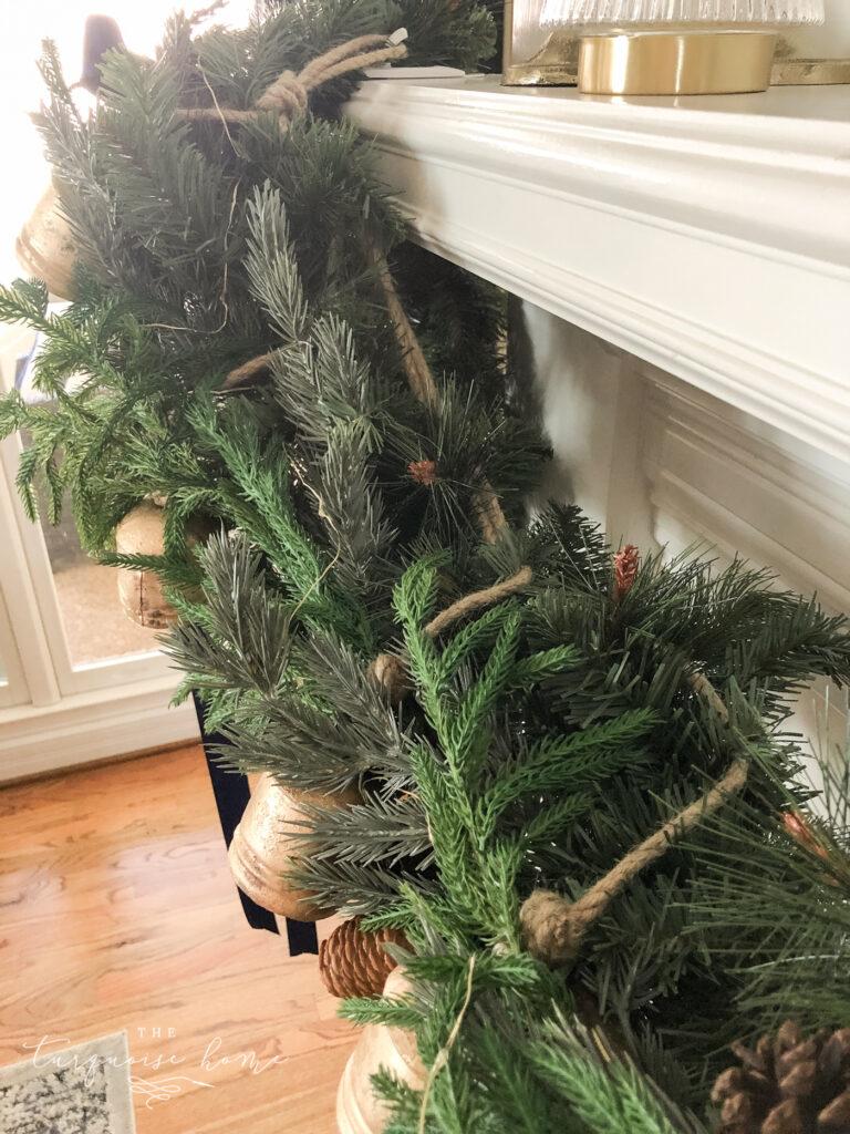 Brass bells on a Christmas garland