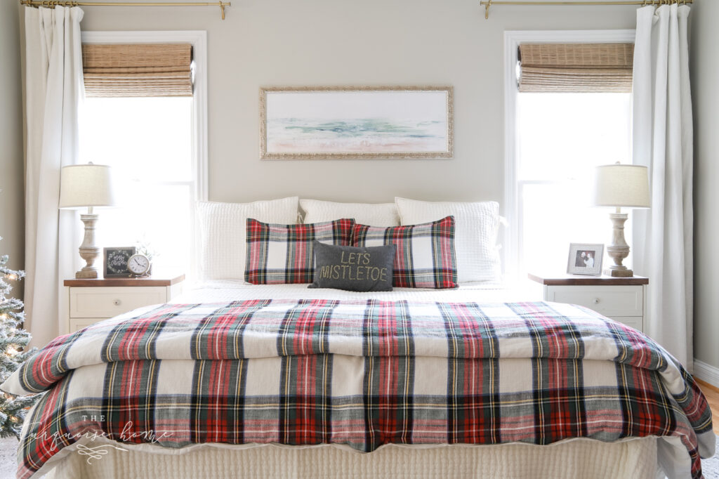 Plaid Bedding in Master Bedroom