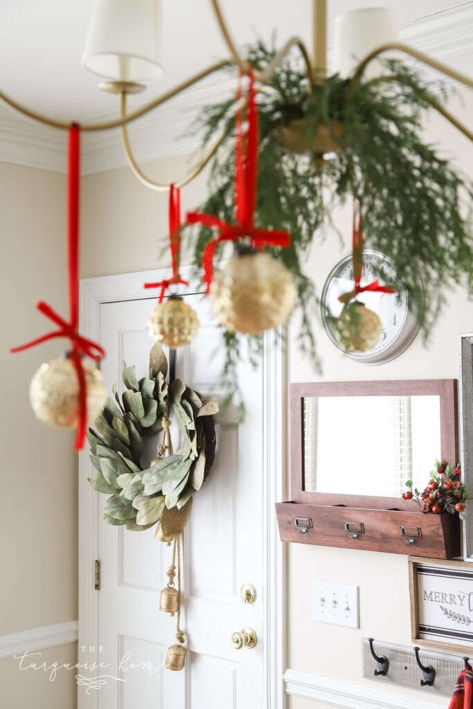 Ornaments hanging from chandelier