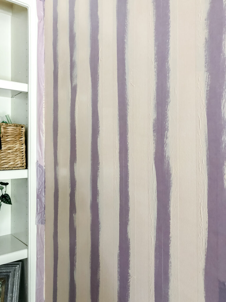 painted stripes for plaid wall