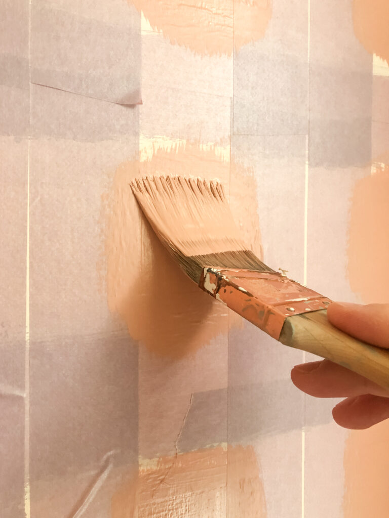 Paint the middle square on a plaid wall