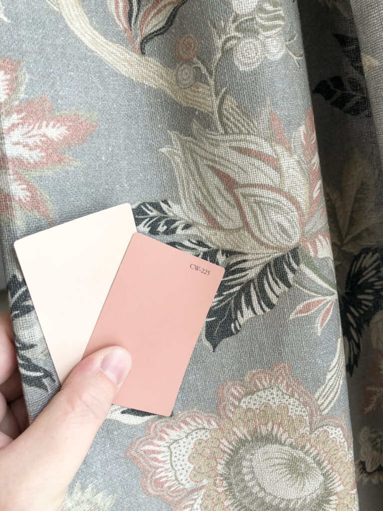Pink Paint with Floral Curtains