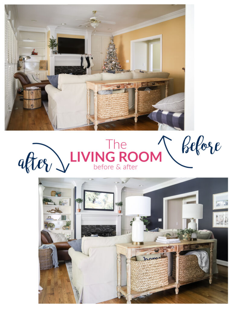 Navy Living Room Makeover | Before & After