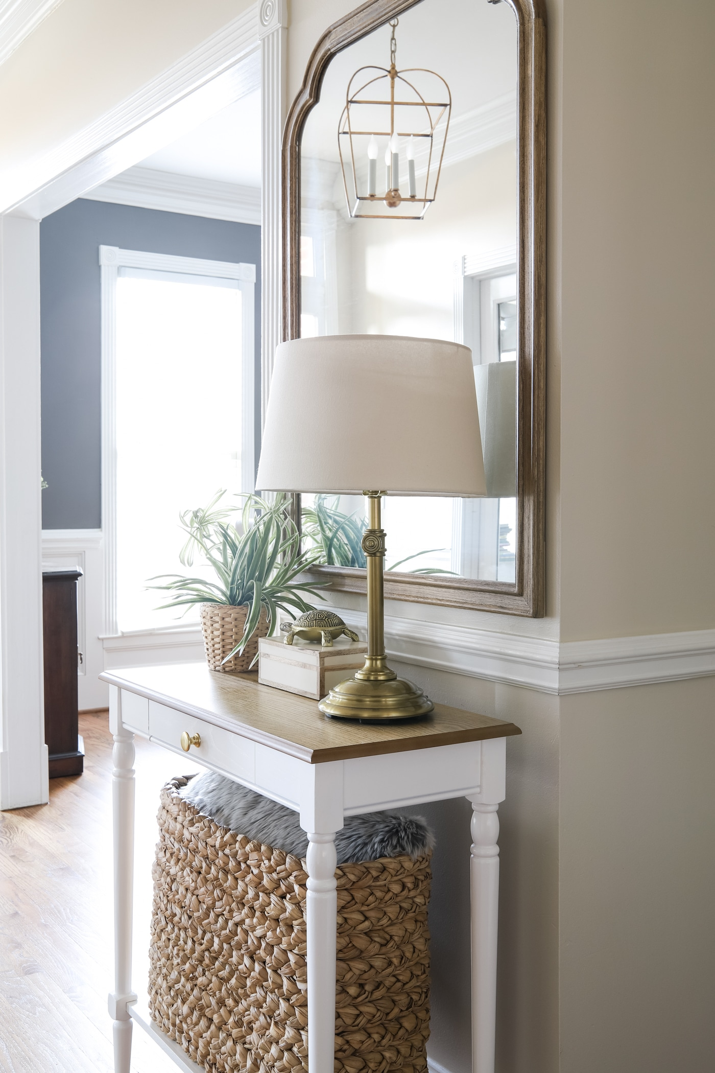 Small Entry Way Table, Mirror and Lamp