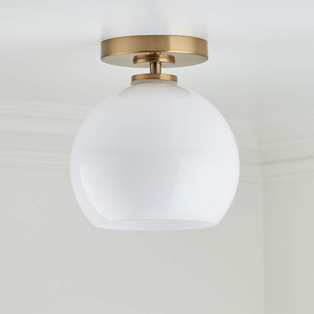 Brass Flush Mount Light with Milk Round Shade