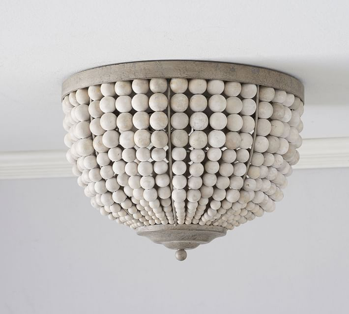 Leila Wood Bead Flush Mount Light