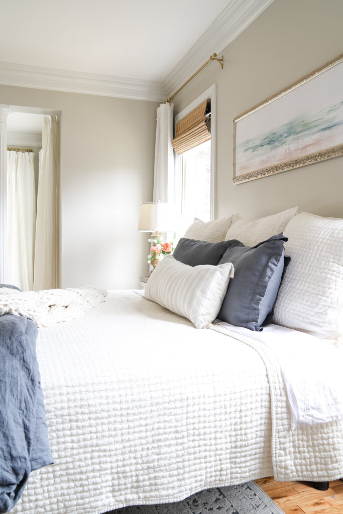 Master Bedroom with Blue and White Bedding