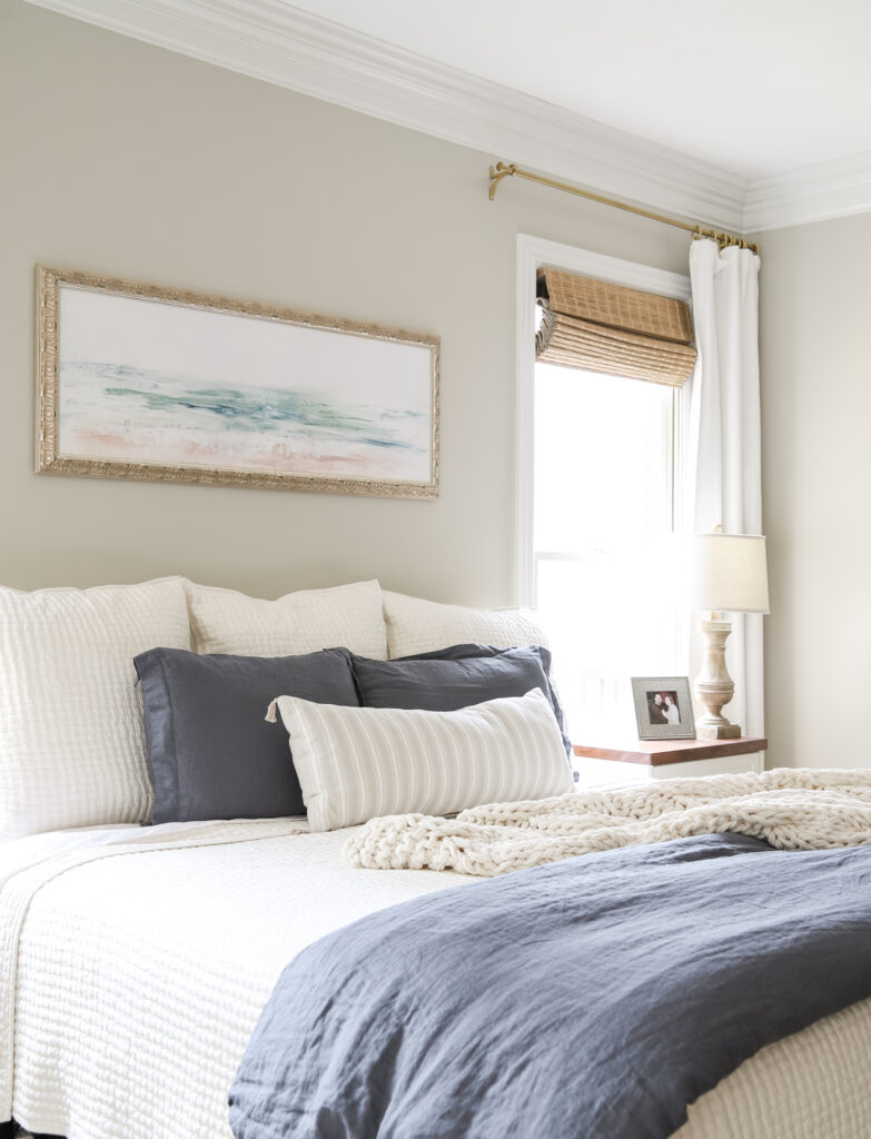 Solid Blue Linen Duvet Cover