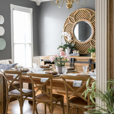 Gray Dining Room with Spring Table Decor