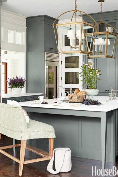 Sherwin Williams Retreat in a Kitchen by Urban Grace Interiors