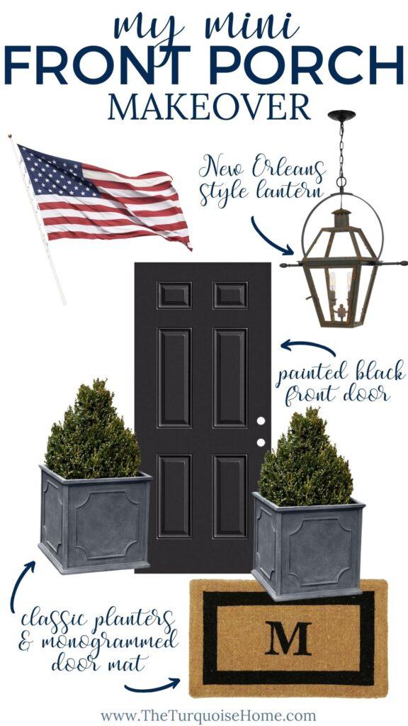 American Flag, Black Door - Front Porch Makeover Ideas