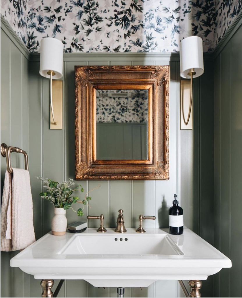 Green and Wallpapered Bathroom