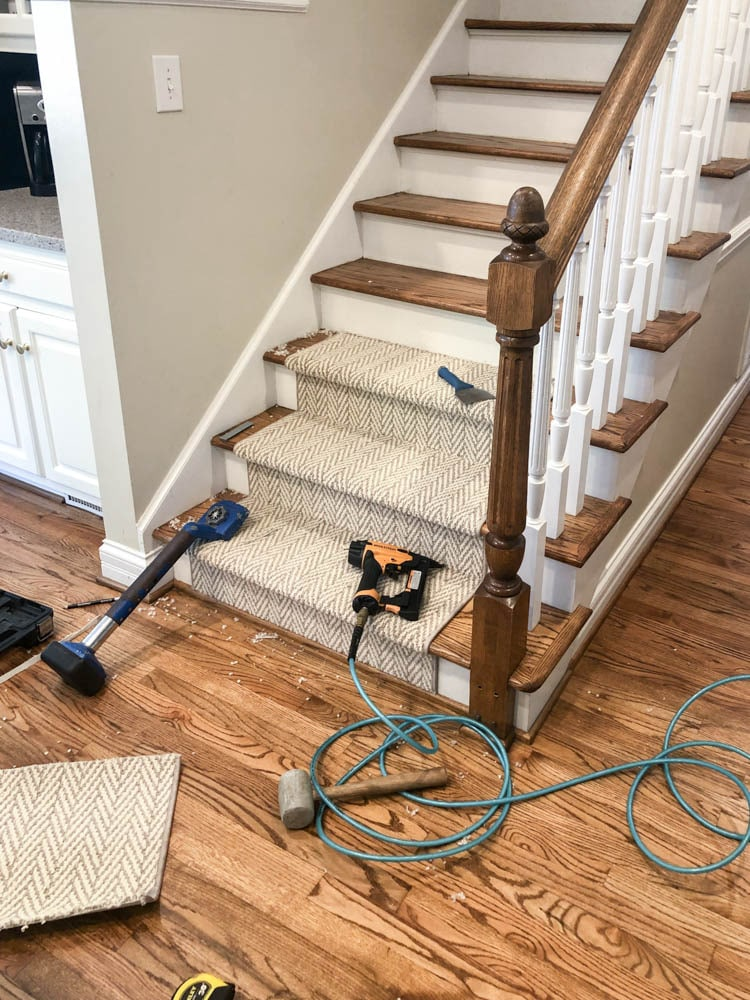 Tools used to install stair runner