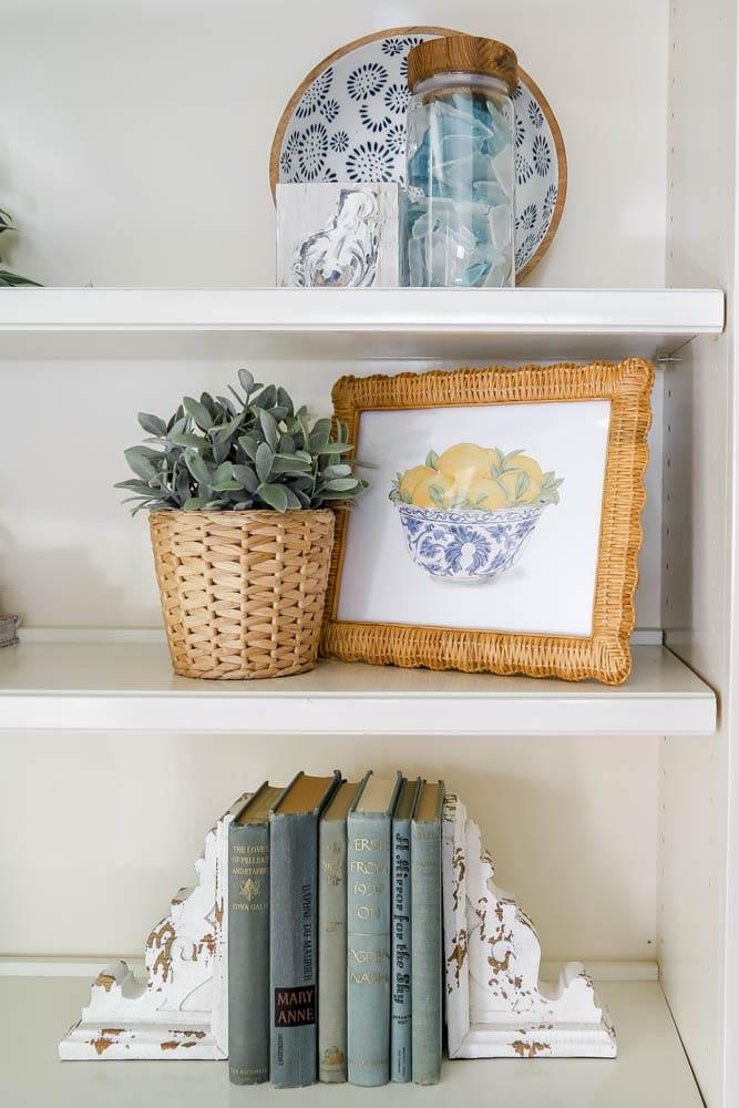 Bowl of Lemons Printable on built-in shelves
