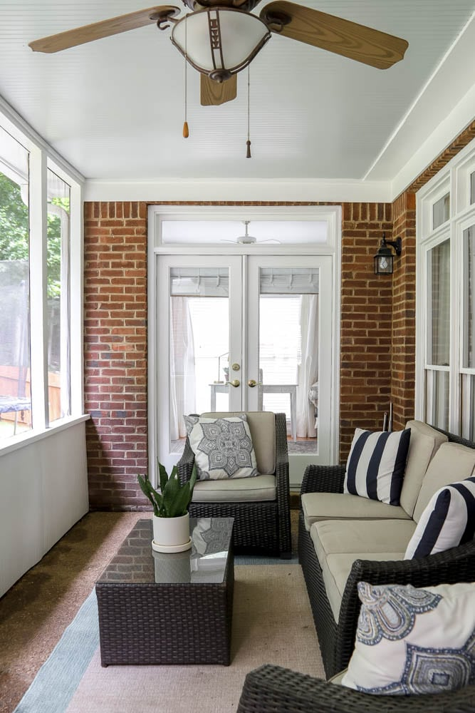 Haint Blue Porch Ceiling with Sea Salt by Sherwin Williams