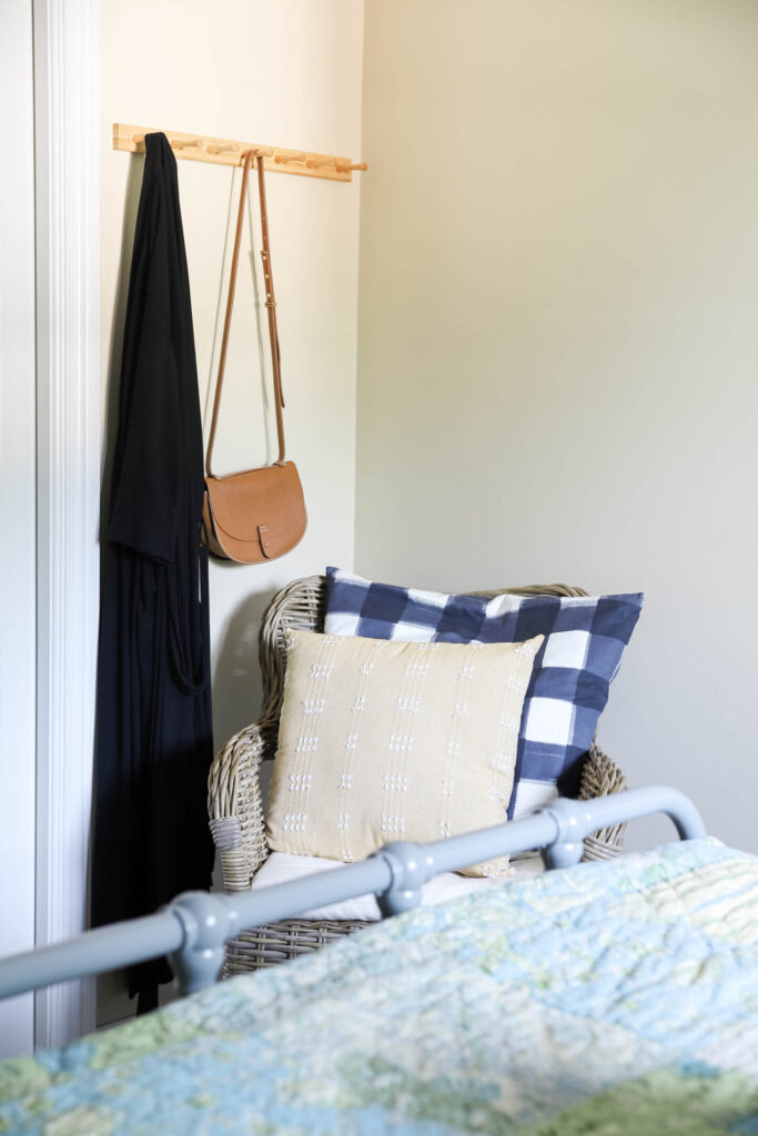 Hooks for hanging a robe or bag for guests
