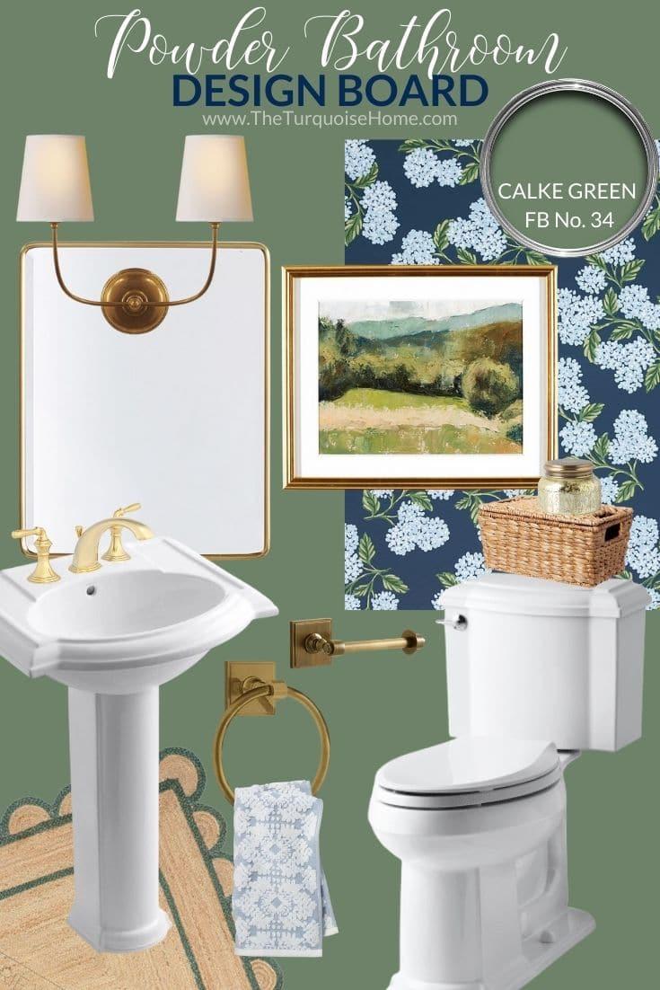 Traditional Powder Bathroom Design Board