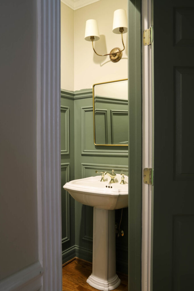 Caulke Green Powder Room with Picture Frame Moulding