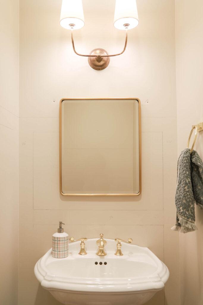 Vintage Rounded Mirror in Powder Bathroom