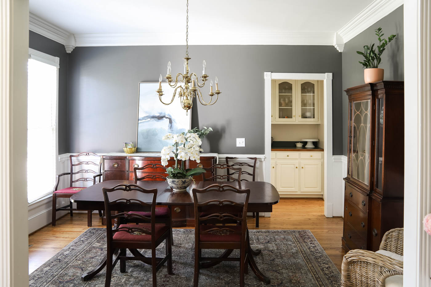 Dining Room with antique wood furniture