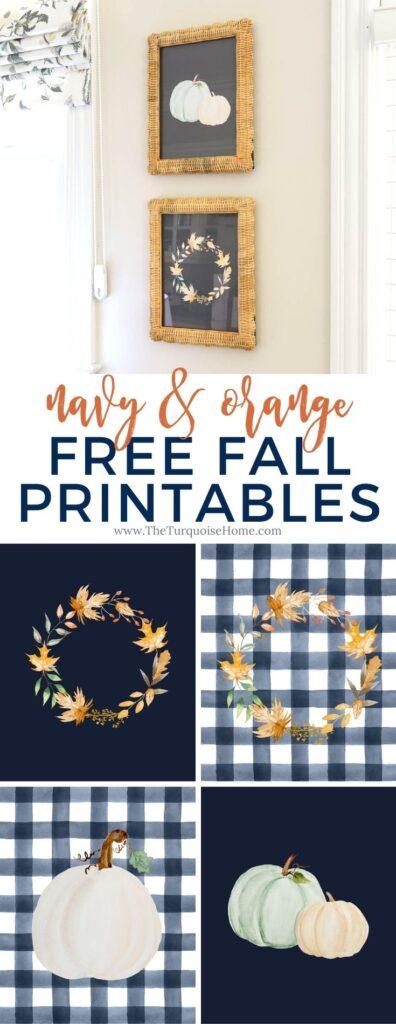 Navy & Orange Free Fall Printables